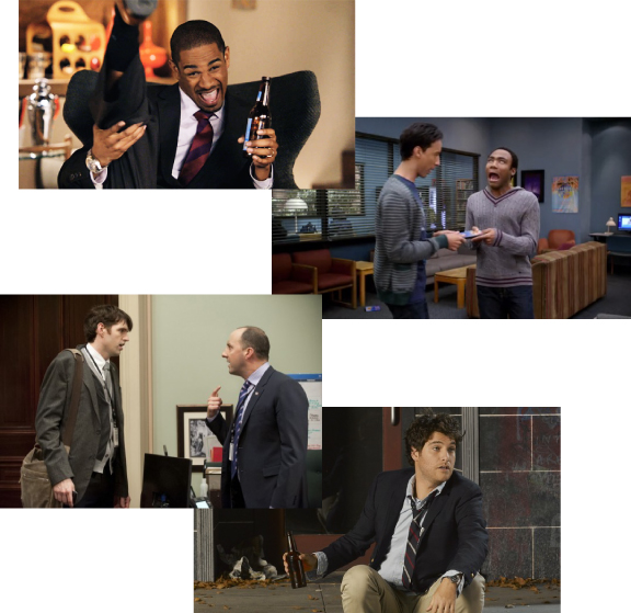 Clockwise from top: Daman Wayans, Jr., Danny Pudi & Donald Glover, Adam Pally, Timothy Simmons & Tony Hale. Photos courtesy f ABC, NBC and BHB
